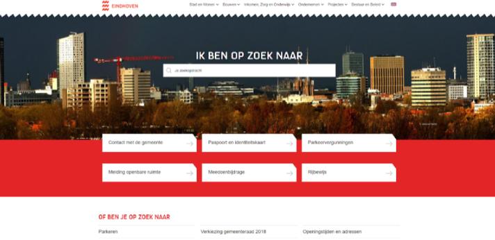 Hero, hub en help-content: voorbeeld website gemeente Eindhoven