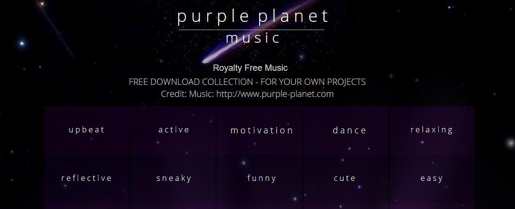 Purple Planet Music gratis rechtenvrije muziek