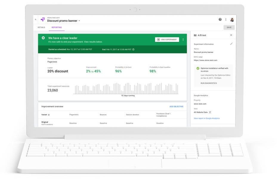 google-optimize-interface